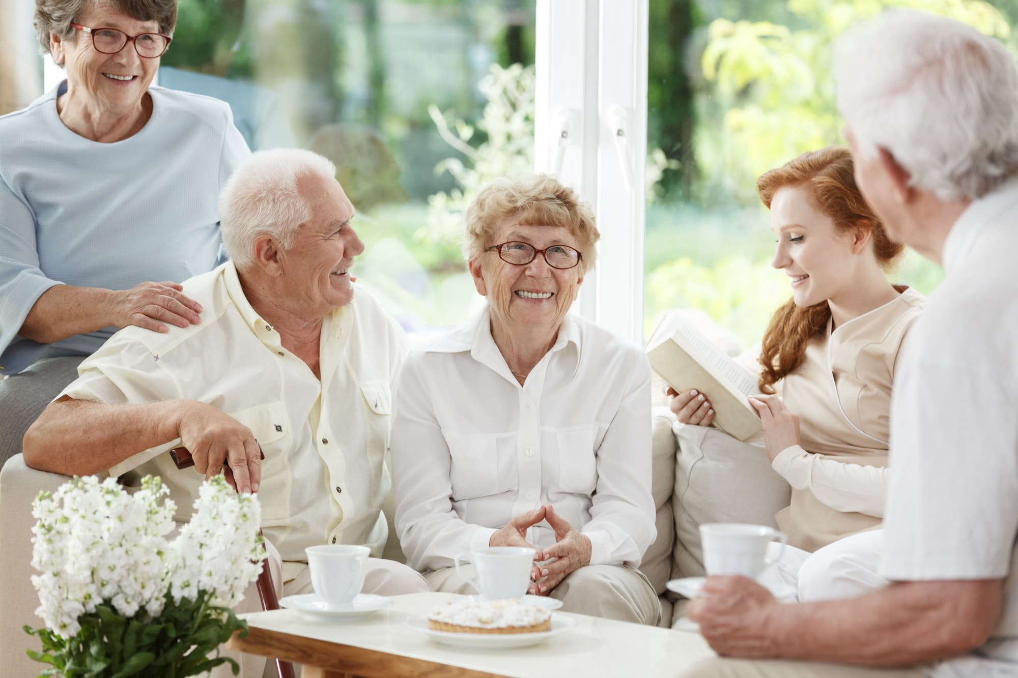 Nanny for the elderly reading
